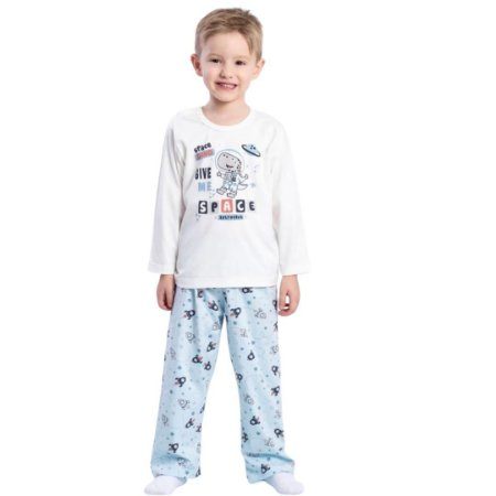 Pijama Longo Infantil Masculino Space Dino