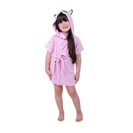 Robe Infantil Feminino Rosa com Aplique de Cachorro