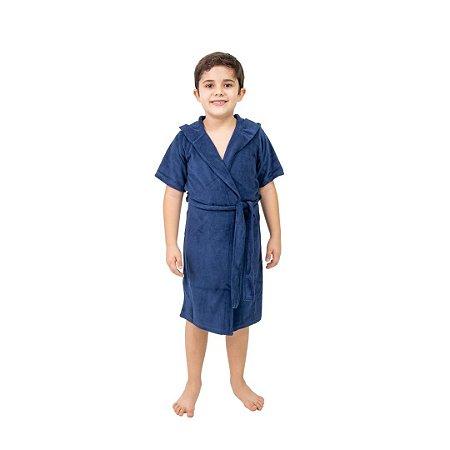 Robe Infantil Masculino Atoalhado Azul com Capuz
