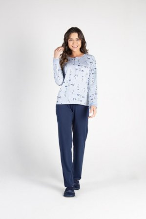 Pijama Longo Adulto Feminino Floral