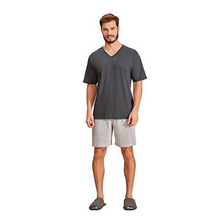 Pijama Curto Adulto Masculino Gola V Chumbo