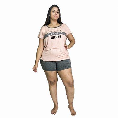Pijama Curto Adulto Feminino Rosê