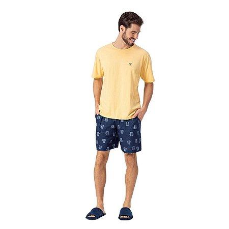 Pijama Curto Adulto Masculino Camisa Amarela com Short Azul