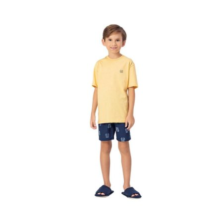 Pijama Curto Infantil Masculino Camisa Amarela com Short Azul
