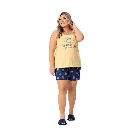 Pijama Curto Adulto Feminino Deixe Brilho Por Onde Passar Plus