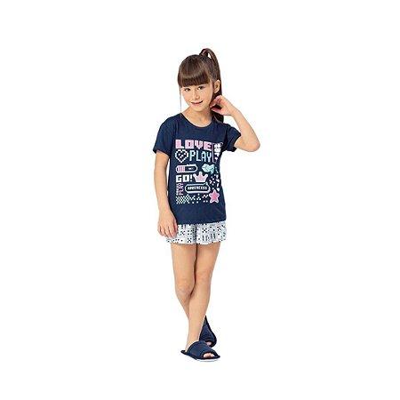Pijama Curto Infantil Feminino Love Play Brilha No Escuro
