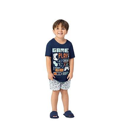 Pijama Curto Infantil Masculino Love Play Brilha No Escuro