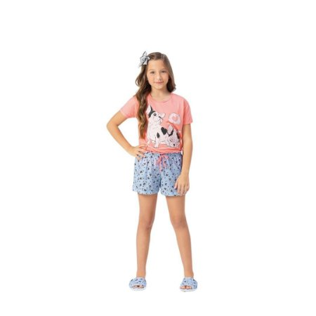 Pijama Curto Infantil Feminino Cachorrinho Amor