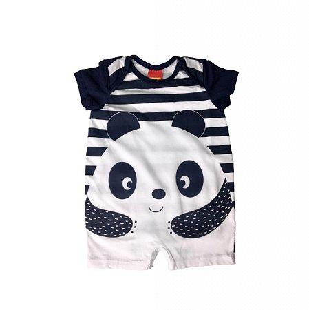 Body Curto Bebê com Perninha Panda Azul Marinho