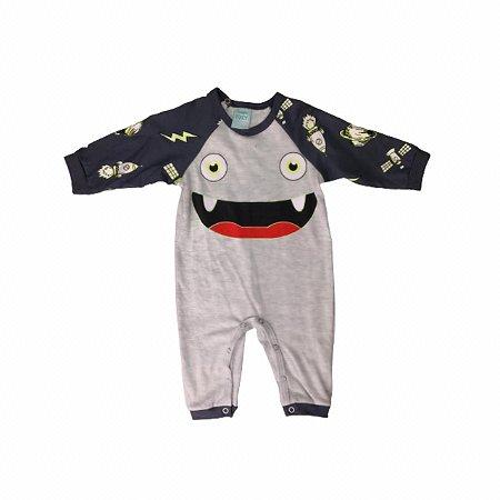 Macacão Bebê Monstrinho Cinza Brilha no Escuro