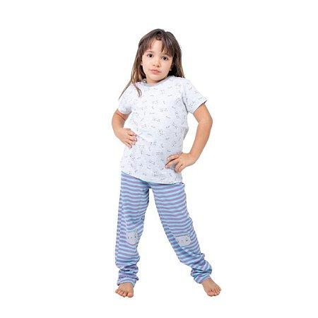 Pijama Longo Infantil Feminino 2 em 1 Gatinho