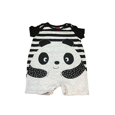 Body Curto Bebê com Perninha Panda Preto