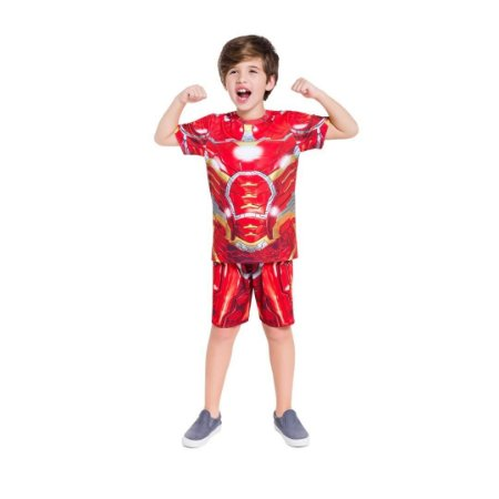 Pijama Curto Infantil Masculino Homem de Ferro