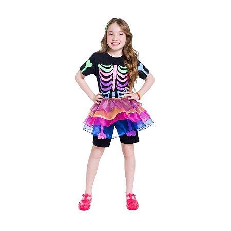 Pijama Curto Infantil Feminino Esqueleto Colorido