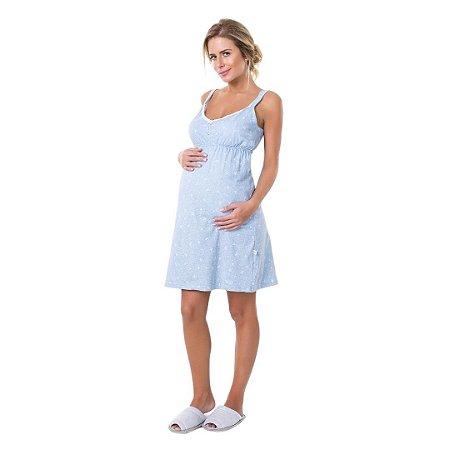 Camisola Adulto Com Alça para Amamentação Azul Claro com Body