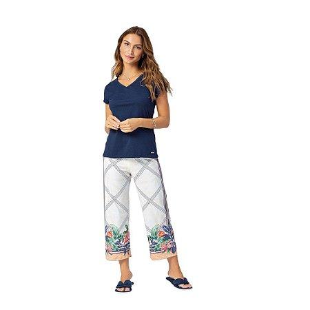 Pijama Longo Adulto Feminino Blusa Gola V e Calça Pantacourt