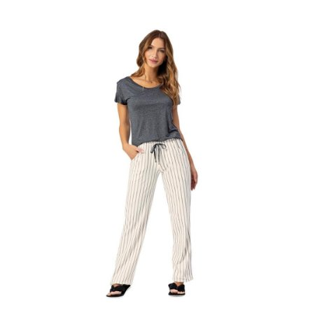 Pijama Longo Adulto Feminino Blusa Manga Curta E Calça Listrada