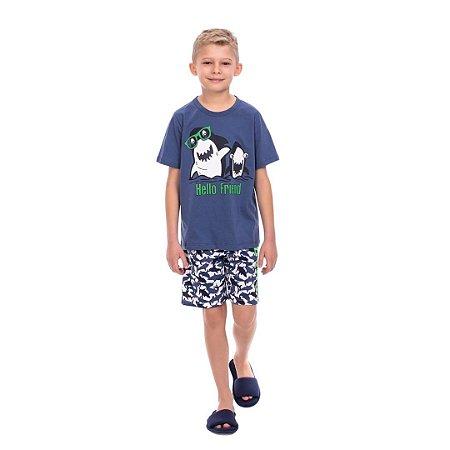 Pijama Curto Infantil Masculino Tubarão Hello Friend