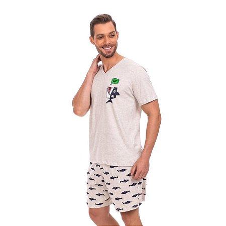 Pijama Curto Adulto Masculino Tubarão Brilha no Escuro