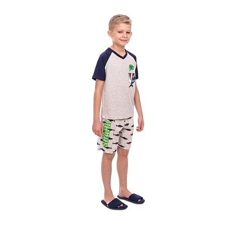 Pijama Curto Infantil Masculino Tubarão Brilha no Escuro