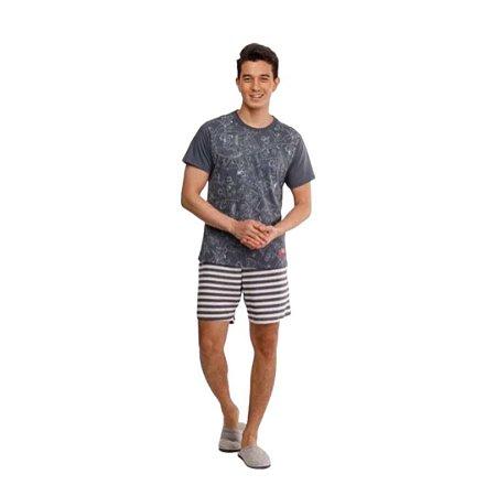 Pijama Curto Adulto Masculino Camisa Cinza Calça Listrada