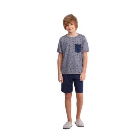 Pijama Curto Infantil Masculino Camisa Cinza Calça Azul Escuro