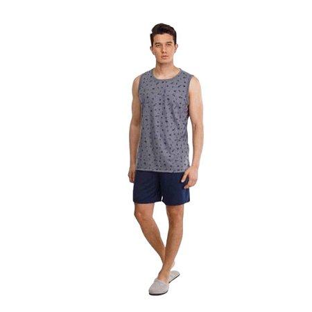 Pijama Curto Adulto Masculino Regata Cinza Calça Azul Escuro