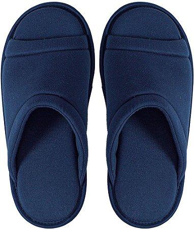Pantufa Acolchoada Antiderrapante Feminino Azul Escuro