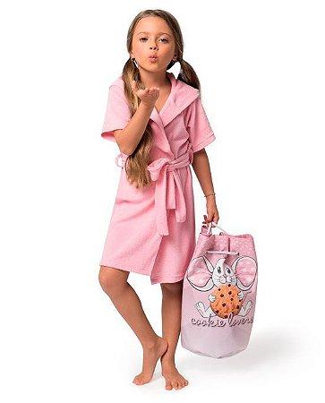 Bolsa em Formato de Saco Rosa Estampa Cookie Lovers