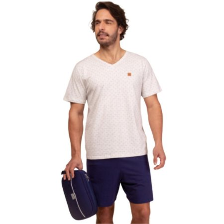 Pijama Curto Adulto Masculino Camiseta Branca Short Azul