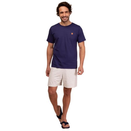 Pijama Curto Adulto Masculino Camiseta Azul Short Branco Plus Size