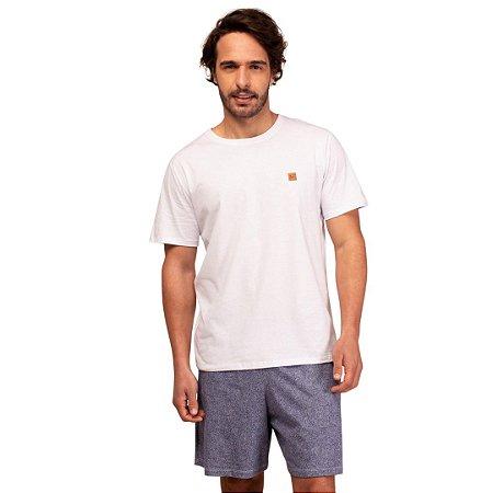 Pijama Curto Adulto Masculino Camiseta Branca Short Cinza
