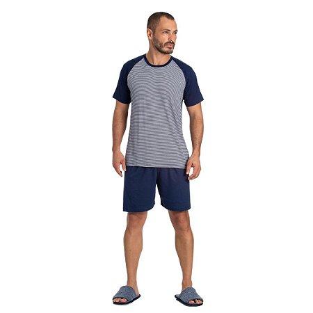 Pijama Curto Adulto Masculino Camiseta Azul Listrada Short Azul