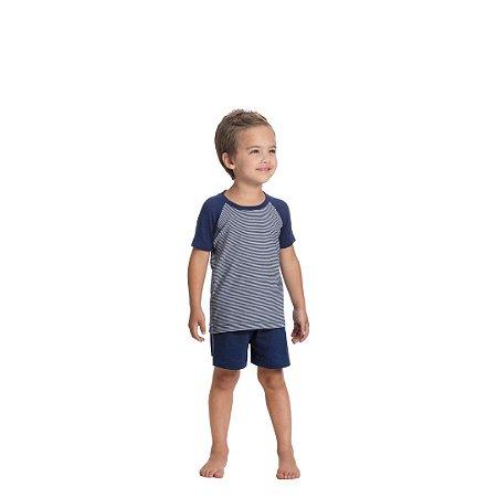 Pijama Curto Infantil Masculino Camiseta Azul Listrada Short Azul