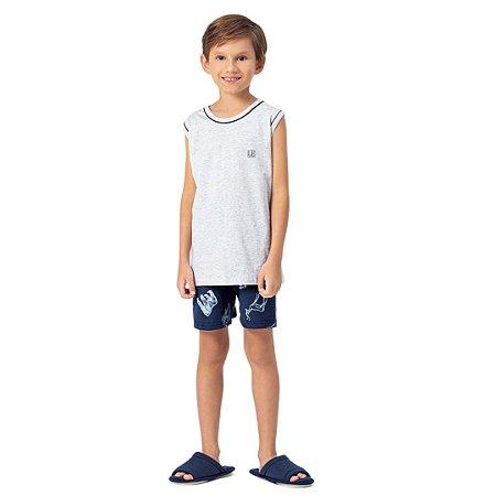 Pijama Curto Infantil Masculino Regata e Short Safari