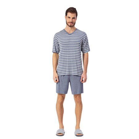 Pijama Curto Adulto Masculino Camiseta Listrada Azul