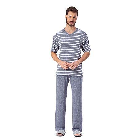 Pijama Longo Adulto Masculino Camiseta Listrada Azul