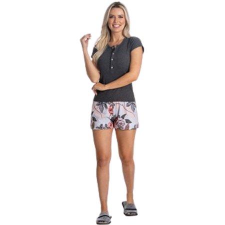 Pijama Curto Adulto Feminino Camisa Com Abertura e Short Florido