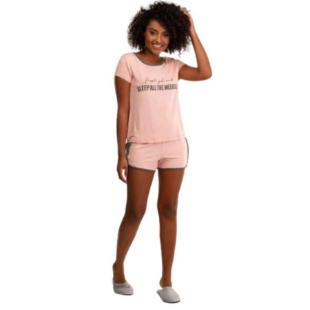 Pijama Curto Adulto Feminino Blusa e Short Rose