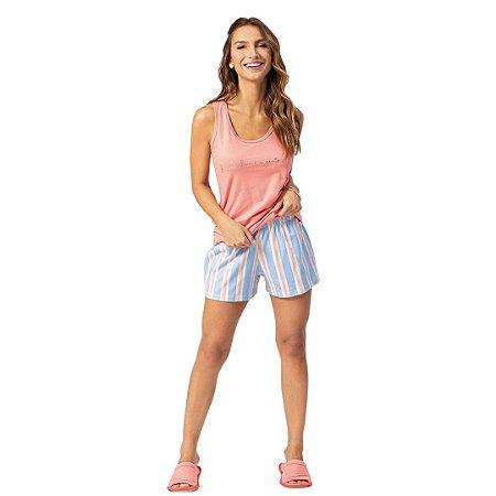 Pijama Curto Adulto Feminino Blusa Rosa Short Com Cós Franzido