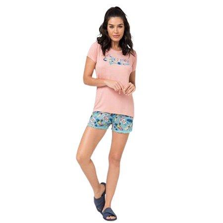 Pijama Curto Adulto Feminino Blusa Rosa Short Detalhe na Barra