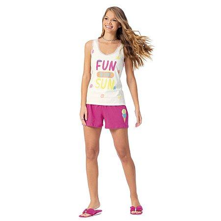 Pijama Curto Adulto Feminino Blusa Fun In The Sun Short Rosa