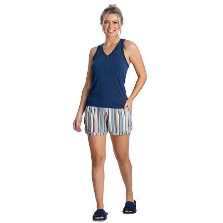 Pijama Curto Adulto Feminino Blusa Regata Azul e Short Listrado