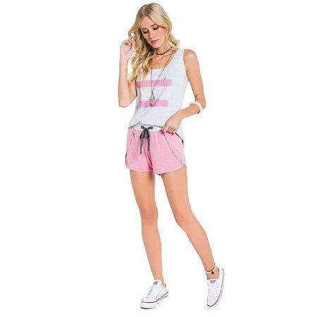 Pijama Curto Adulto Feminino Blusa Regata Branca Short Envelope Rosa