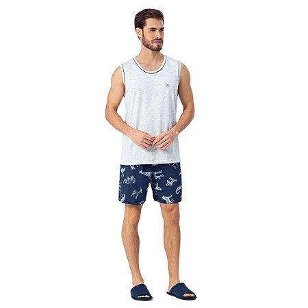 Pijama Curto Adulto Masculino Blusa Regata e Bermuda Safari