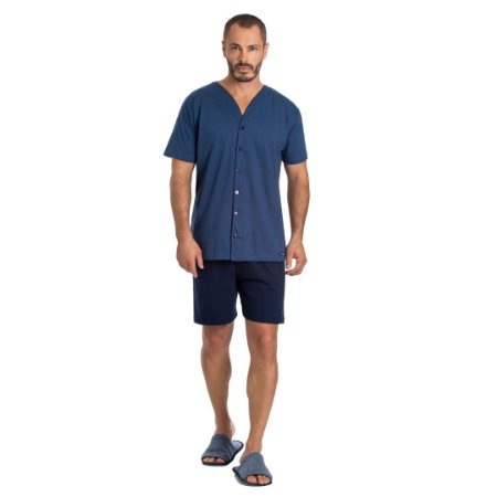Pijama Curto Adulto Masculino Blusa Abertura Frontal e Bermuda Lisa Azul