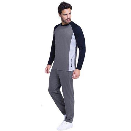 Pijama Longo Adulto Masculino Blusa Grafite e Calça Ajustável
