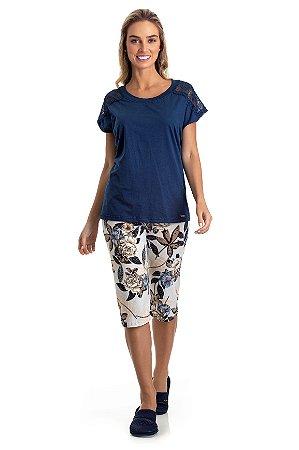 Pijama Pescador Adulto Feminino Blusa Azul E Calça Estampada