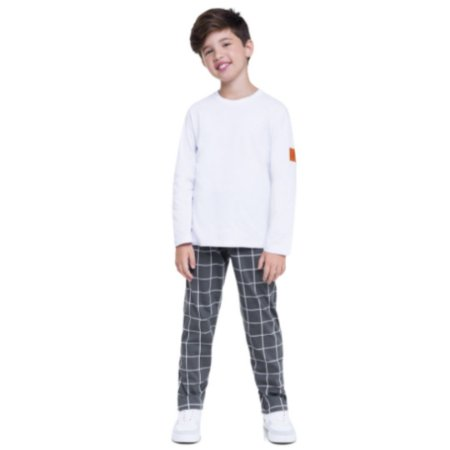 Pijama Longo Infantil Masculino Blusa Branca e Calça Quadriculada