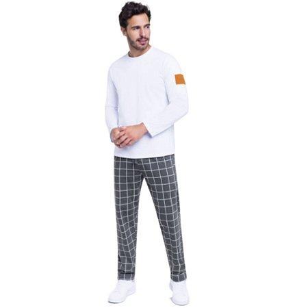 Pijama Longo Adulto Masculino Blusa Branca e Calça Quadriculada
